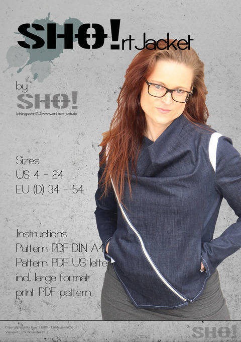 Download SHO!rt Jacket - a slimfit jacket with asymmetrical zipper immediately at Makerist