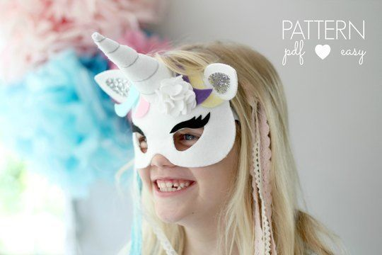 Download Unicorn Party Mask Pattern with Horn immediately at Makerist