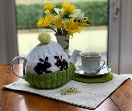 Download Spring Bunny Rabbit Tea Cosy Knitting Pattern immediately at Makerist