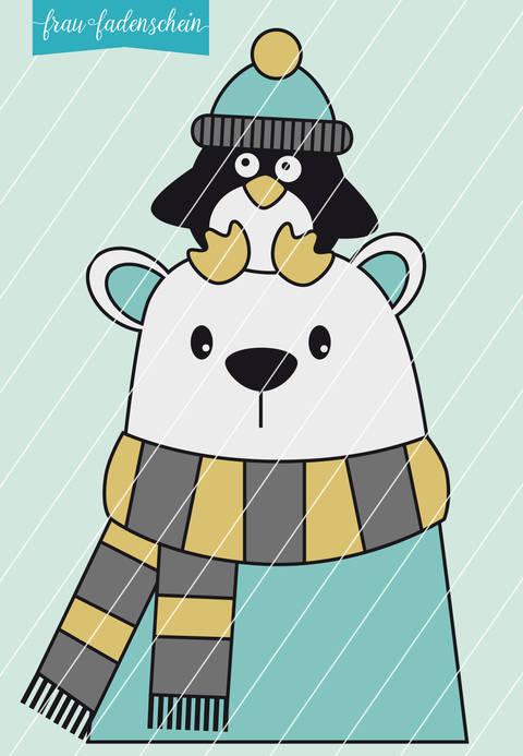 Plotterdatei Eisbär Oskar & Pinguin Emil Variante 1 bei Makerist sofort runterladen