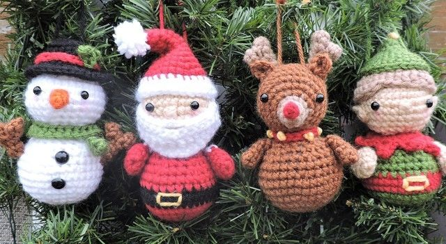 Download Amigurumi Santa and Friends Ornaments - Crochet Pattern immediately at Makerist