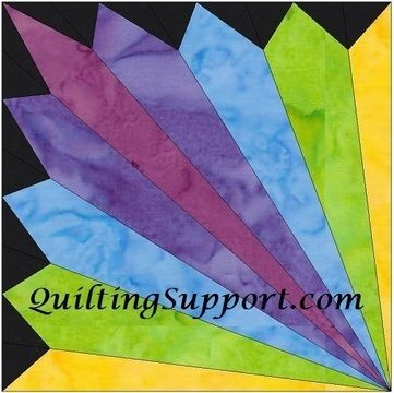 Download HC Rainbow Fan 10 Inch Paper Piecing Foundation Quilting Pattern immediately at Makerist