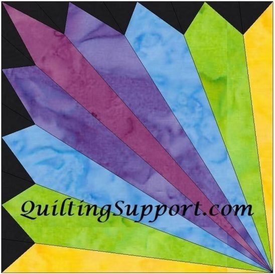 Download 15 Inch HC Rainbow Fan Template Block Quilting Pattern immediately at Makerist