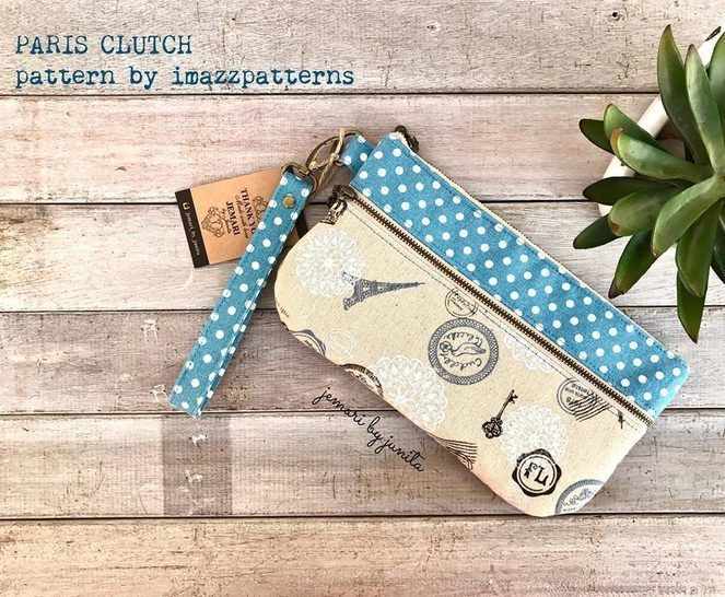 Download Clutch / wristlet /pencil case - practical design -2 zippered pockets- 6 card slots- detailed instructions with over 70 pics. immediately at Makerist
