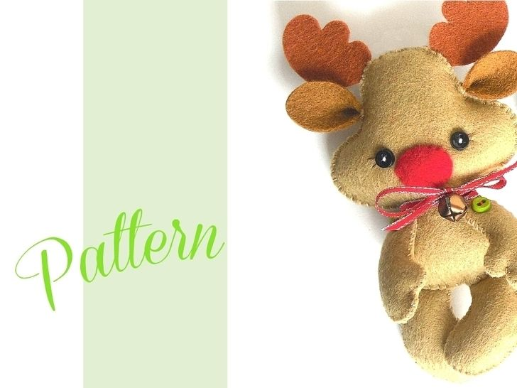 Reindeer Christmas Pdf Ornament Pattern Felt Christmas Ornament