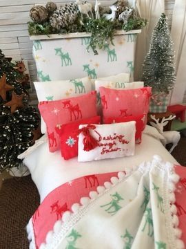 Download Dashing Through the Snow Christmas Doll Bedding Sewing Pattern - Dollhouse Scale immediately at Makerist
