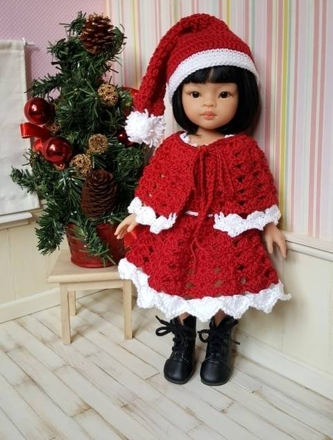 Download Merry Christmas : crochet outfit for 32-33 cm doll immediately at Makerist