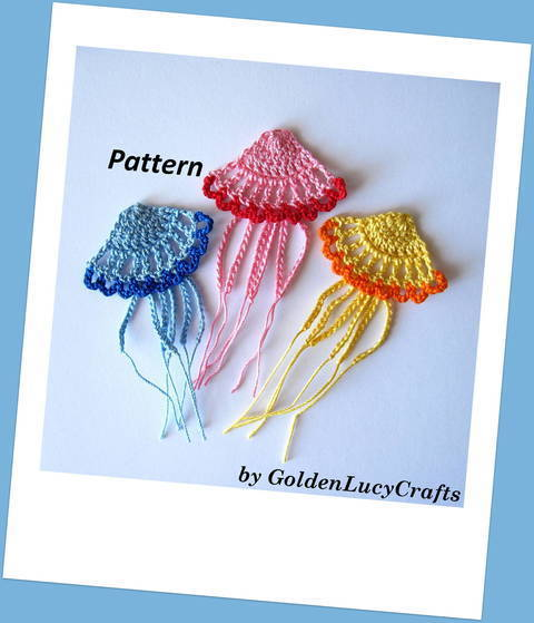 Download Crochet Pattern Jellyfish Applique immediately at Makerist