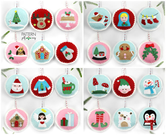 Felt Christmas Ornament Patterns, 24 Advent Ornament Pattern, DIY ...