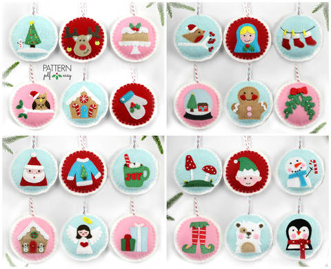 Download Felt Christmas Ornament Patterns, 24 Advent Ornament Pattern, DIY Christmas, immediately at Makerist
