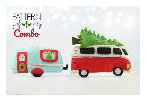 Download Christmas Decoration Pattern Combo - VW Camper & Retro Caravan immediately at Makerist
