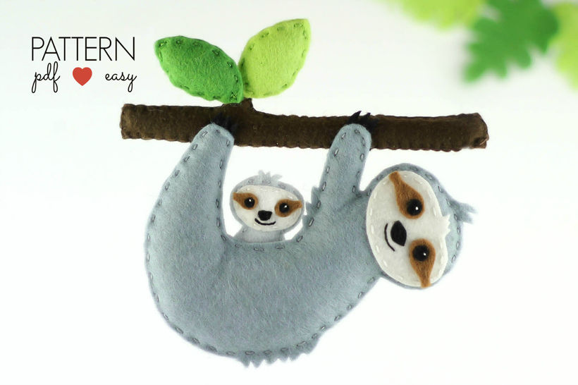 Sloth Sewing Pattern - Felt Sloth Ornament Pattern,