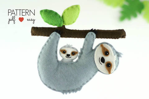 Download Sloth Sewing Pattern - Felt Sloth Ornament Pattern, immediately at Makerist