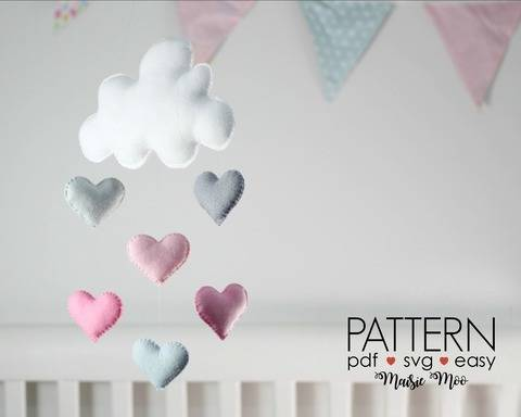 Download Cloud Baby Mobile Pattern - Baby Mobile Pattern - DIY Mobile Pattern immediately at Makerist