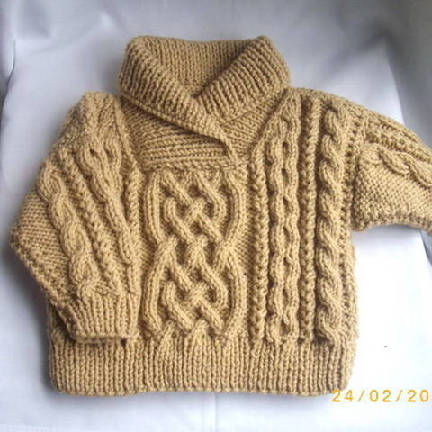 Download Liam child's aran sweater - knitting pattern immediately at Makerist