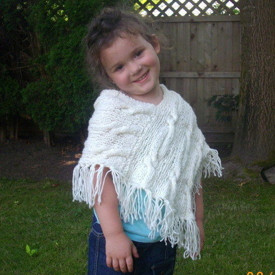Caireann Shawl Poncho For Girls Knitting Pattern