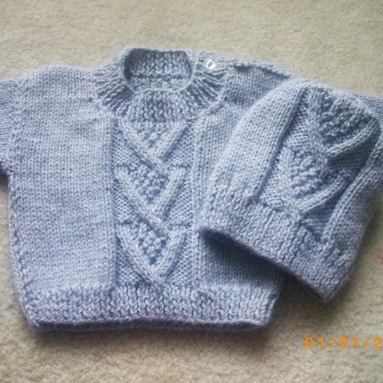 d4b4b402d Ardan baby or toddler sweater and hat - knitting pattern