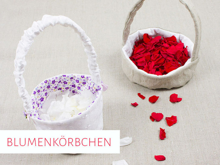 Blumenkörbchen für die Hochzeit in 2 Varianten - Nähanleitungen bei Makerist sofort runterladen