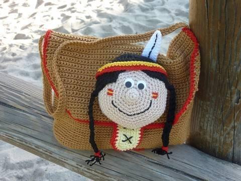 """Häkelanleitung """"Kindertasche Indianermädchen"""" bei Makerist sofort runterladen"""