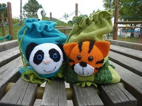 "Häkelanleitung ""Beutel Tiger & Panda"" bei Makerist sofort runterladen"