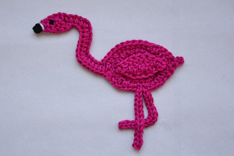 Flamingo Applikation Aufnäher Häkelanleitung