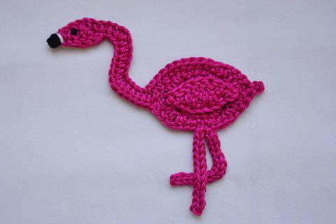 Flamingo Applikation / Aufnäher Häkelanleitung bei Makerist sofort runterladen