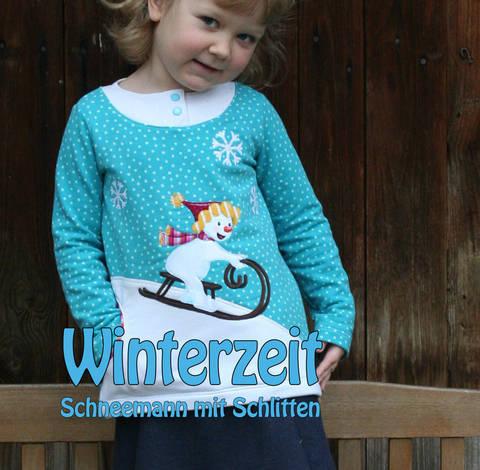 Winterzeit - Schneemann mit Schlitten Applikationsvorlage bei Makerist sofort runterladen