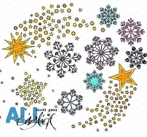 Winterzeit - Eiskristalle und Sterne Plotterdatei bei Makerist sofort runterladen