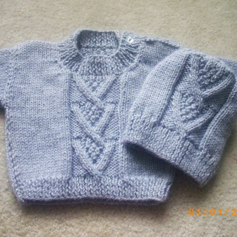 Baby and toddler sweater and hat - knitting pattern