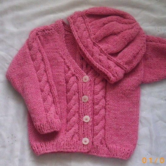 Toddler Cable Cardigan And Hat Knitting Pattern