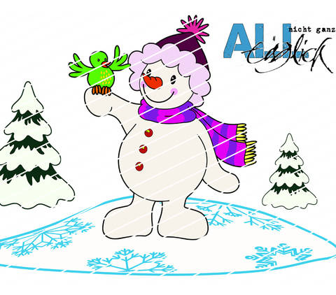 Winterzeit - Schneemann mit Vogel Plotterdatei bei Makerist sofort runterladen