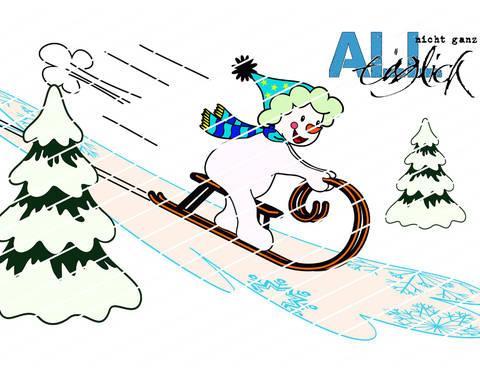 Winterzeit - Schneemann mit Schlitten Plotterdatei bei Makerist sofort runterladen