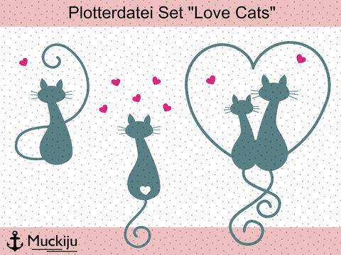 "Plotterdatei Set ""Love Cats"" bei Makerist sofort runterladen"
