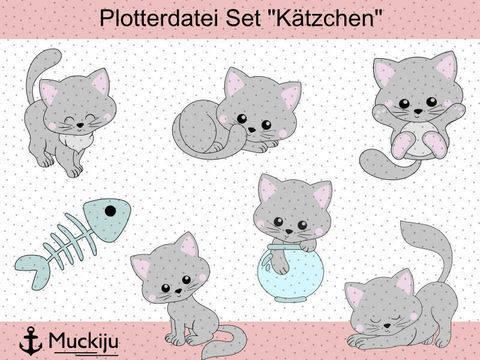 """Plotterdatei Set """"Kätzchen"""" bei Makerist sofort runterladen"""