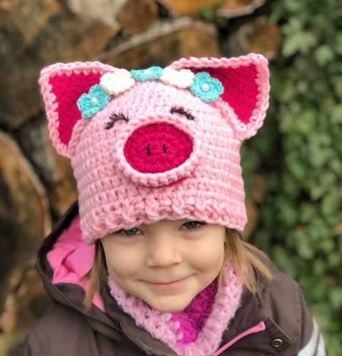 Häkelanleitung Faschingsmütze Karnevalsmütze Schwein MADAME PIGGY bei Makerist sofort runterladen