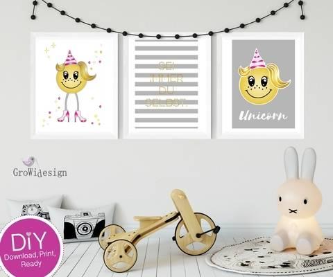 DIY Poster Einhorn Smiley bei Makerist sofort runterladen