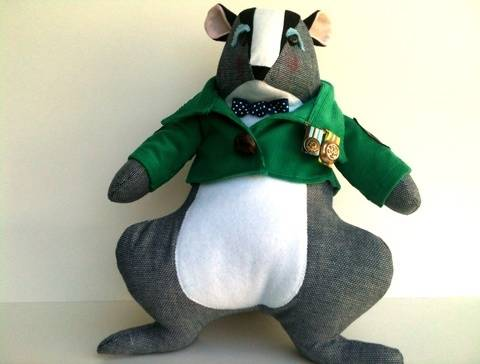 Download Stuffed Animal Badger with Jacket Sewing Pattern immediately at Makerist