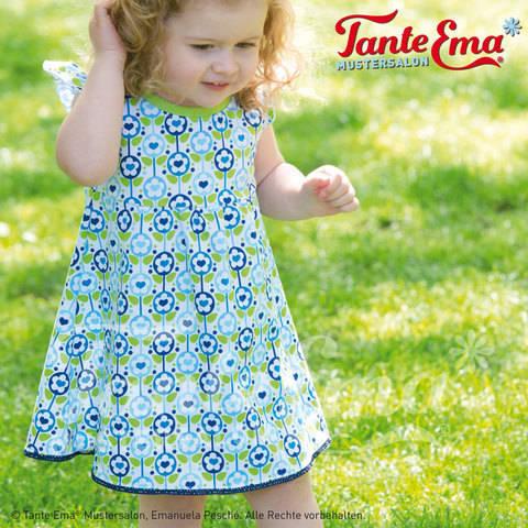 Kinder-Sommerkleidchen mit Flügelärmeln in den Größen: 98 bis 128, Nähanleitung und Schnittmuster bei Makerist sofort runterladen