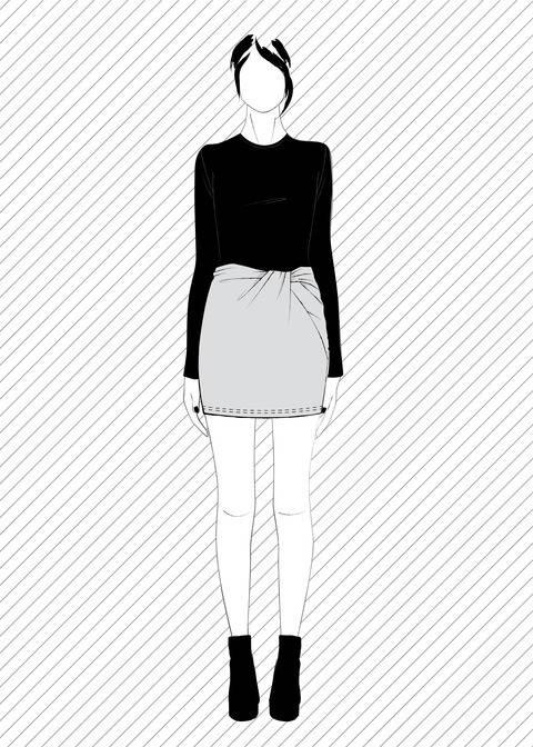 Télécharger TONARE mini jupe avec torsade - Patron de couture PDF tout de suite sur Makerist