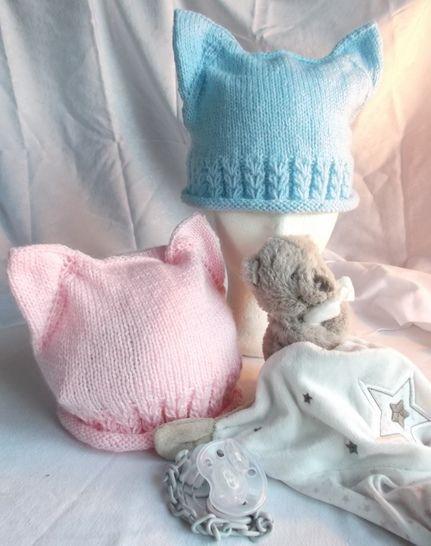 Télécharger Bonnet bébé oreilles de chat et jolis coeurs tout de suite sur Makerist