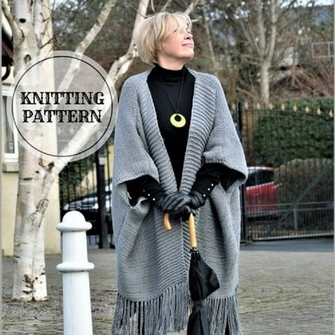 Download Fringe Bottom Wrap Cardigan immediately at Makerist