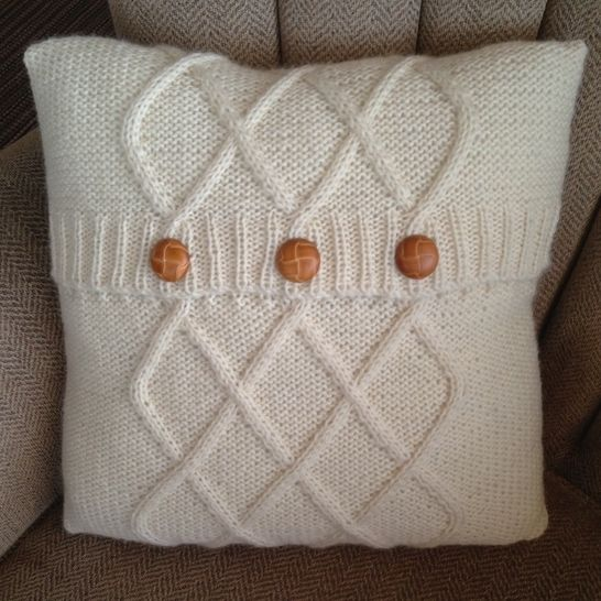 Triple Diamond Cable Aran Cushion Cover In Two Sizes 12 X16