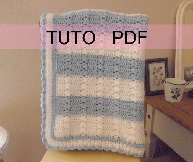 Télécharger PDF CROCHET - Plaid blanc et bleu aux jolis points fantaisies orné d'une bordure dentelle , facile à réaliser , en FRANCAIS ! tout de suite sur Makerist