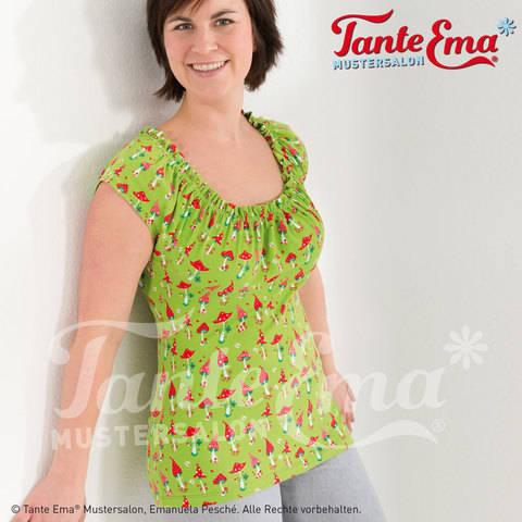 Shirt mit gerafftem Ausschnitt in den Größen 34–46, Nähanleitung und Schnittmuster bei Makerist sofort runterladen