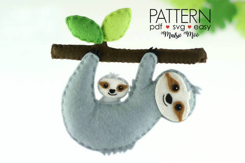 Download Sloth Sewing Pattern - SVG Felt Sloth Ornament Pattern for your cutting machine immediately at Makerist