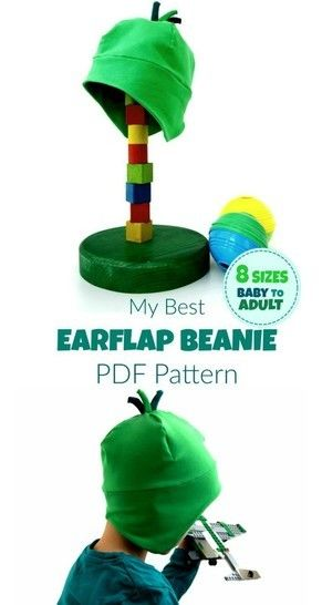 My Best Earflap Beanie Hat - 8 Size Printable Sewing Pattern+ ...