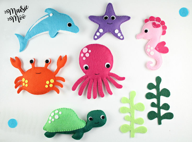 felt sea creatures pattern under the sea baby mobile pattern