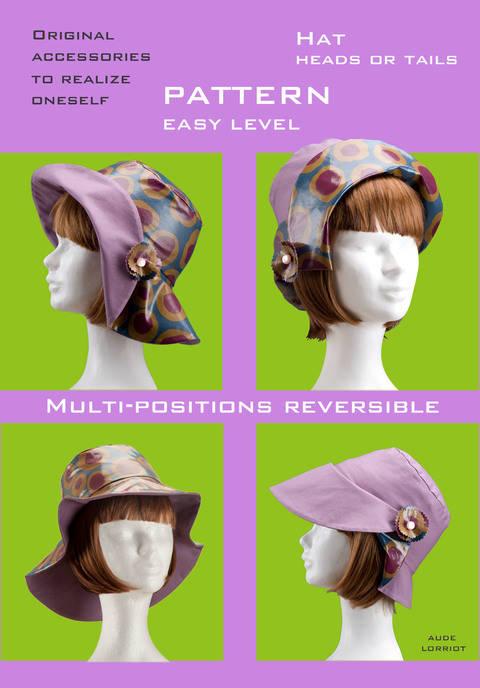 Schnittmuster anleitung REVERSIBLER Hut (en) bei Makerist sofort runterladen