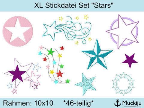 """XL Stickdatei Set """"Stars"""" bei Makerist sofort runterladen"""