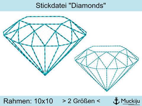 """Stickdatei 10x10 """"Diamonds"""" bei Makerist sofort runterladen"""